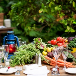 Eclectic Tablescape with Vegetables