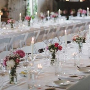 White Wedding Tablescape With Taper Candles