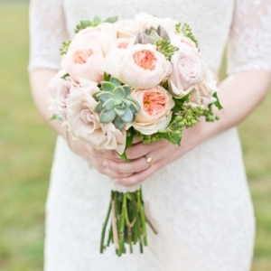Peach garden rose and succulent bouquet