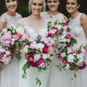 Bride & Bridesmaids With Pink Peony Bouquets