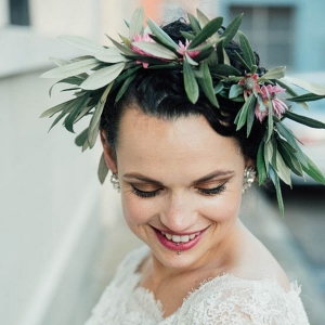 Bride With Olive Leaf Flower Crown