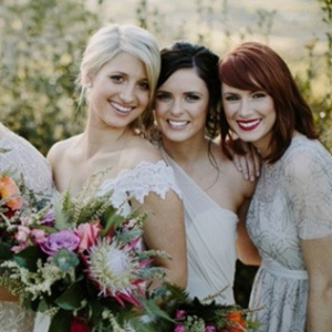 Bridesmaids In Mismatched Pale Gold Gowns