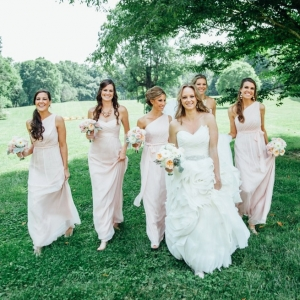 Ruffle wedding dress and blush bridesmaids