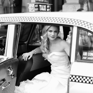 Bride in NYC Checker Cab