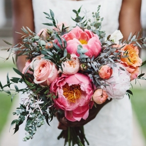 pink green and white bouquet