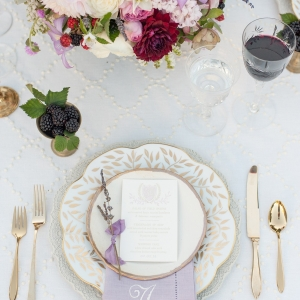 Lavender and Gold Wedding Table