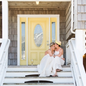 Outer Banks beach wedding with two brides