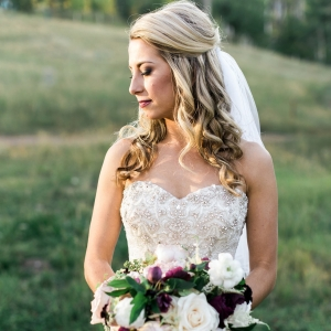 Bride with Burgundy Bouquet