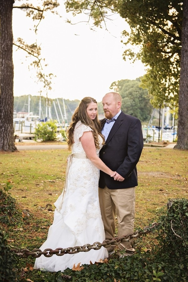 Bride and groom at yacht club