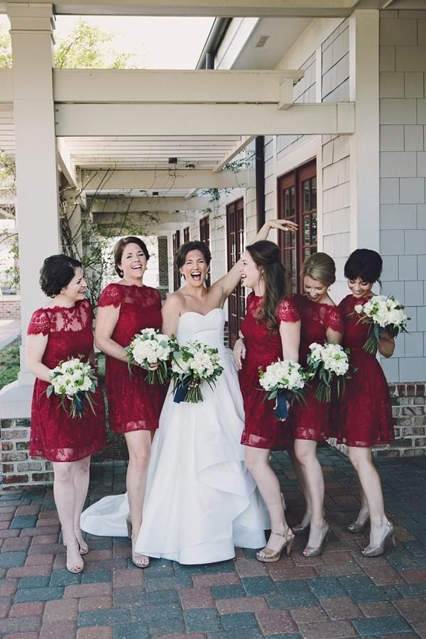 Dark red lace bridesmaid dresses