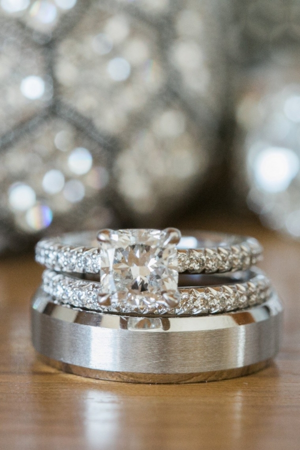 Engagement Ring and White Gold Wedding Bands