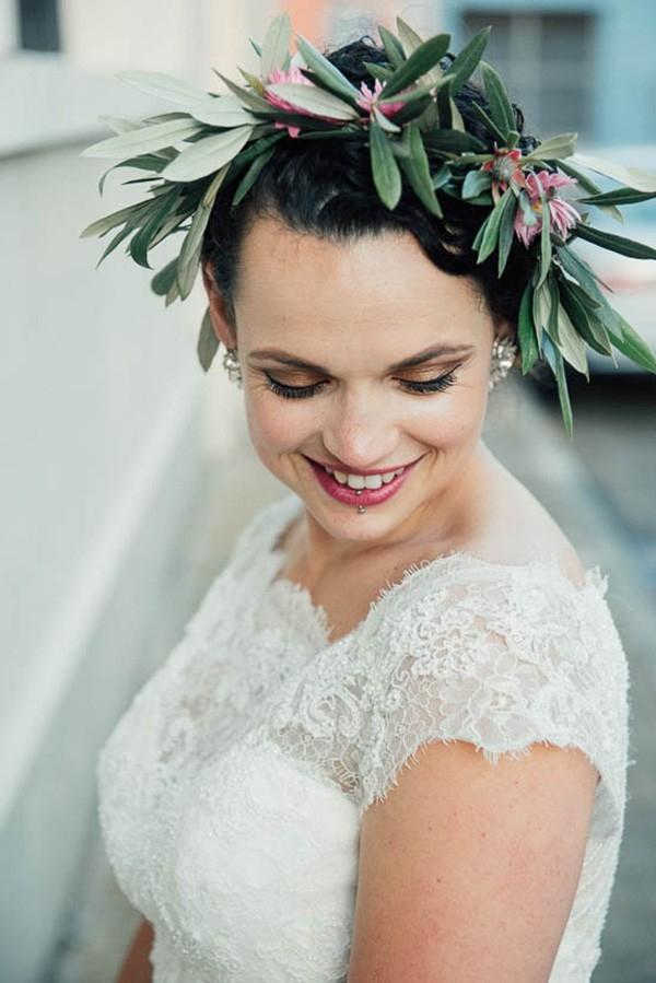 Bride With Olive Leaf Flower Crown