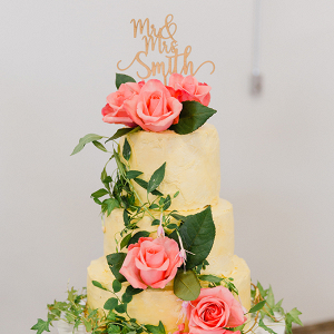 Floral covered cake