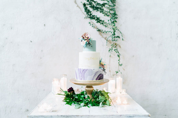 Purple and mint marble cake