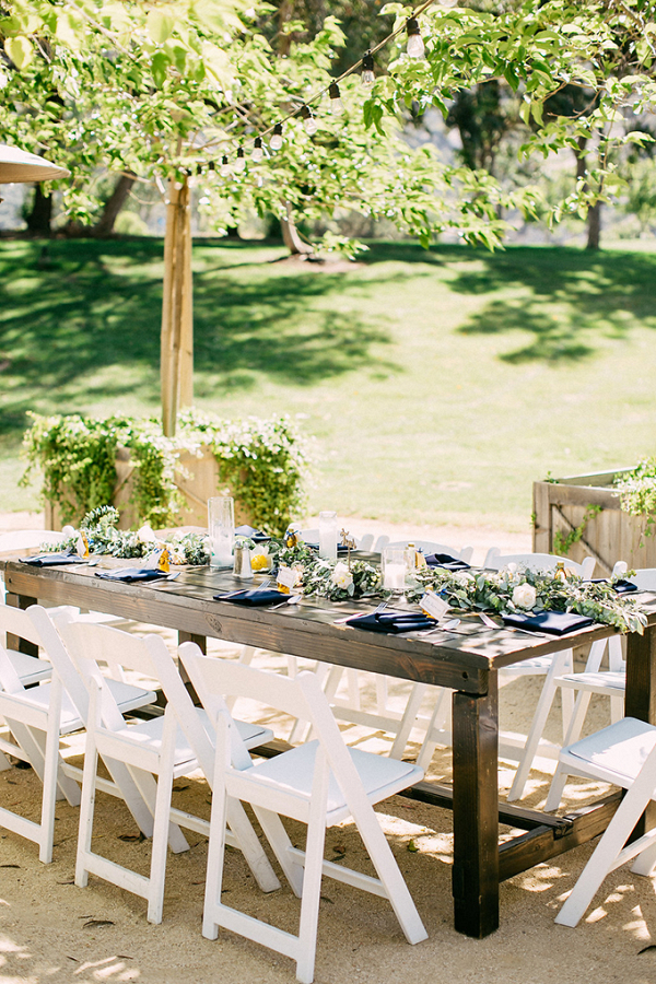 Spring farm table wedding reception