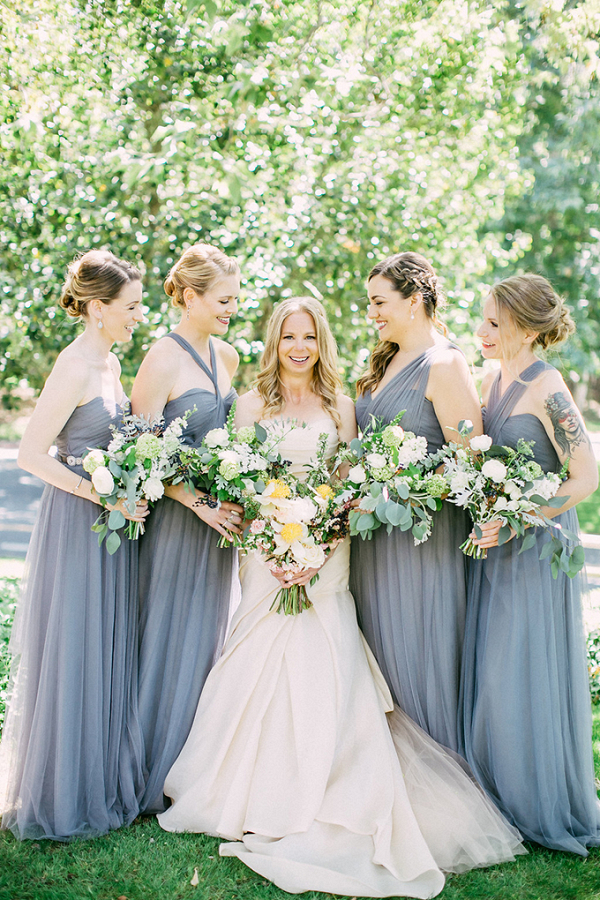 Gray tulle wrap bridesmaid dresses