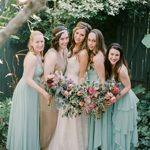 Mismatched mint bridesmaid dresses