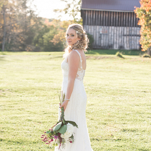 Bride in field