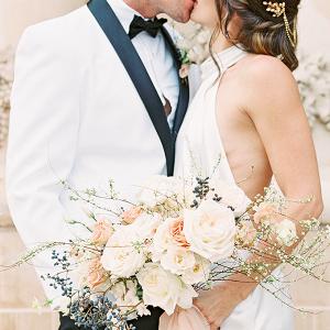Modern romantic elopement portrait