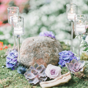 Moss and succulent wedding centerpiece