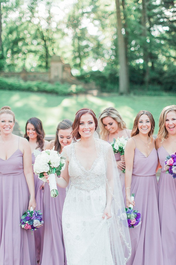 Lavender bridesmaid dresses and Anna Campbell wedding dress