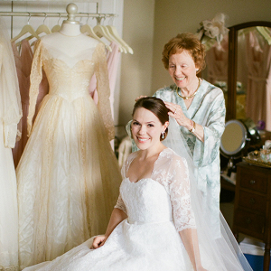 Bride getting ready with grandma