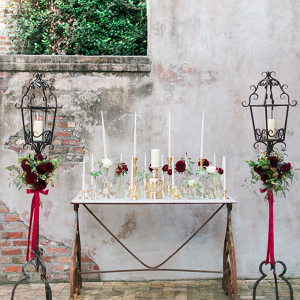 Romantic ceremony altar with taper candles