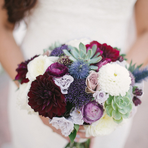 Dahlia and succulent purple bouquet