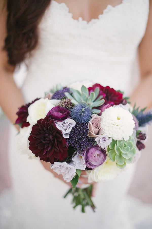 Dahlia and succulent purple bouquet