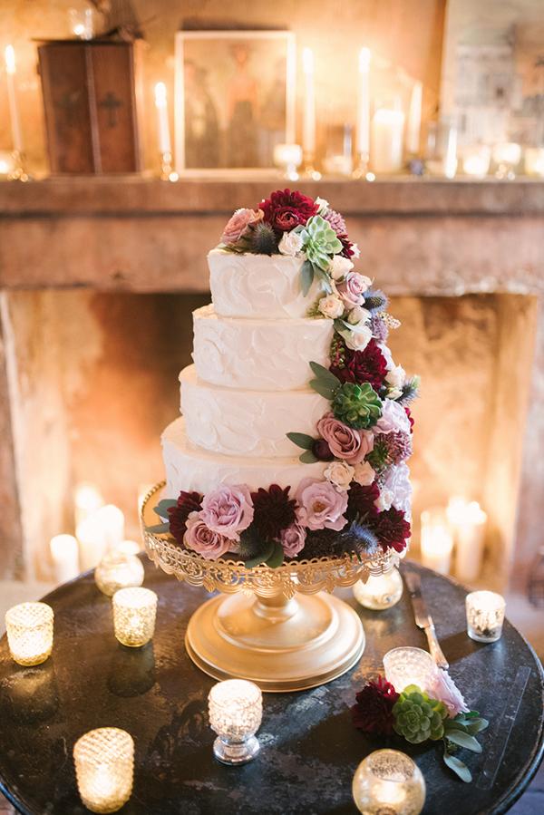 Wedding cake with cascading flowers