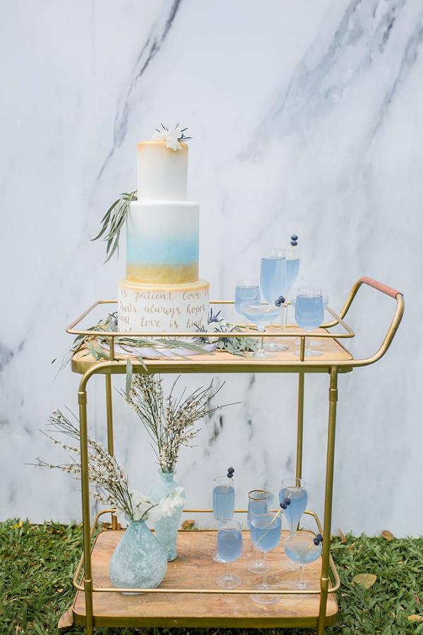 Watercolor calligraphy wedding cake
