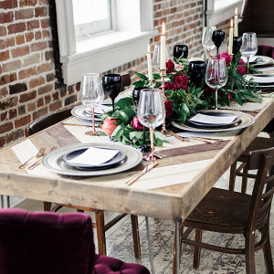 Modern romantic magenta wedding tablescape