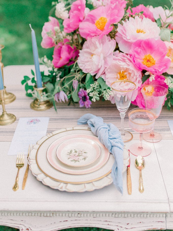 Romantic French Country wedding tablescape