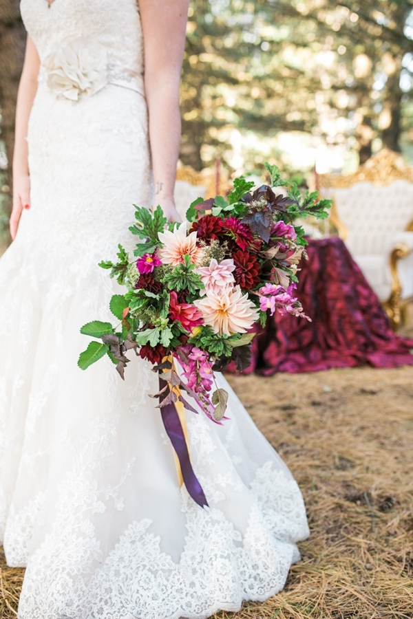 cranberry and gold wedding inspiration on Glamour & Grace
