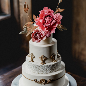Vintage glam wedding cake with sugar flowers