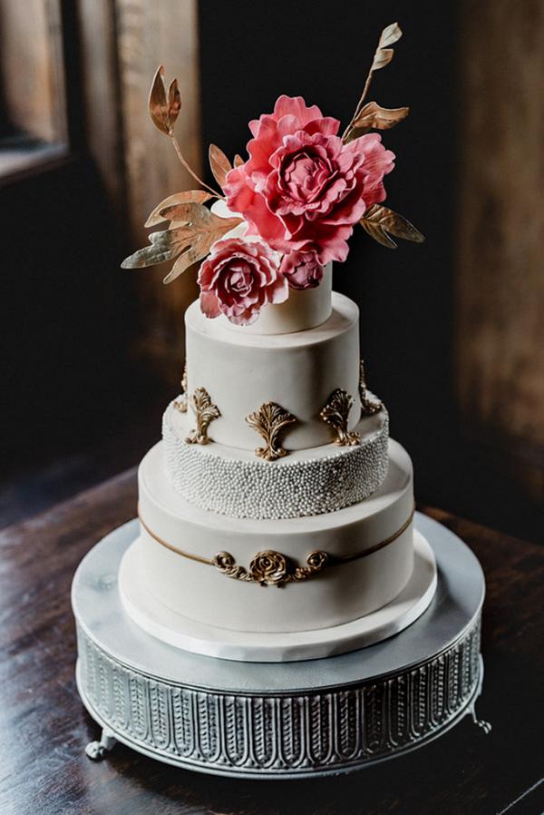 Vintage glam wedding cake with sugar flowers