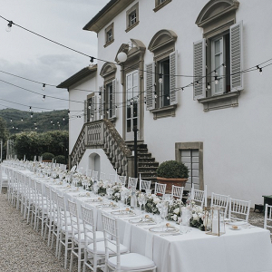 Outdoor Tuscany destination wedding reception
