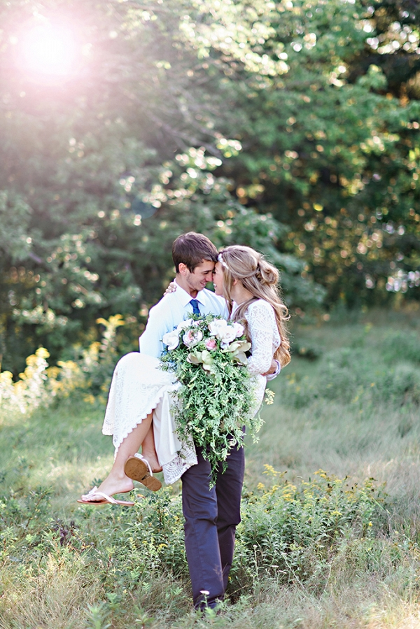 intimate lodge wedding by Candace Berry Photography on Glamour & Grace