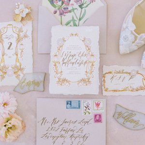 Romantic gold calligraphy wedding invitation suite