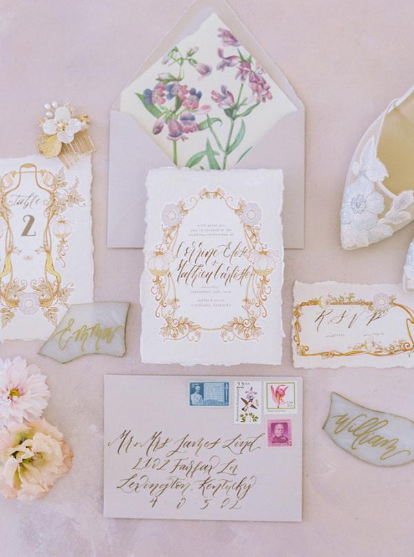 Romantic gold calligraphy wedding invitation suite