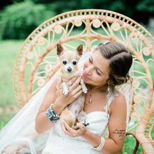 Boho bride with her dog