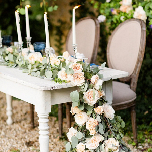 Cascading floral wedding table