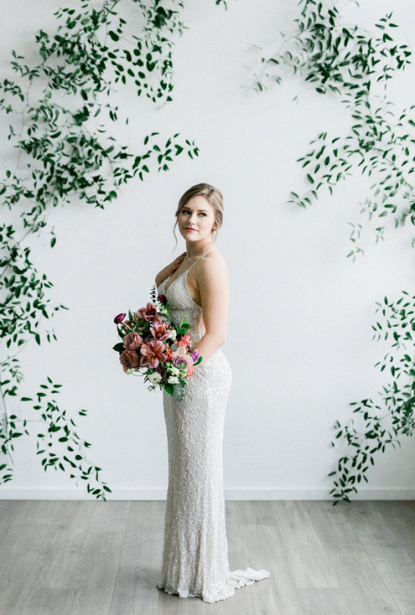 Romantic bride in embellished gown