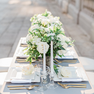 Classic gray and white wedding tablescape