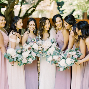 Mismatched blush and lavender bridesmaid dresses