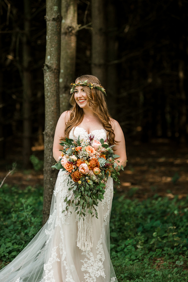 Cascading orange bridal bouquet
