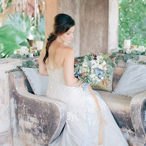 bride in blue and copper on Glamour & Grace