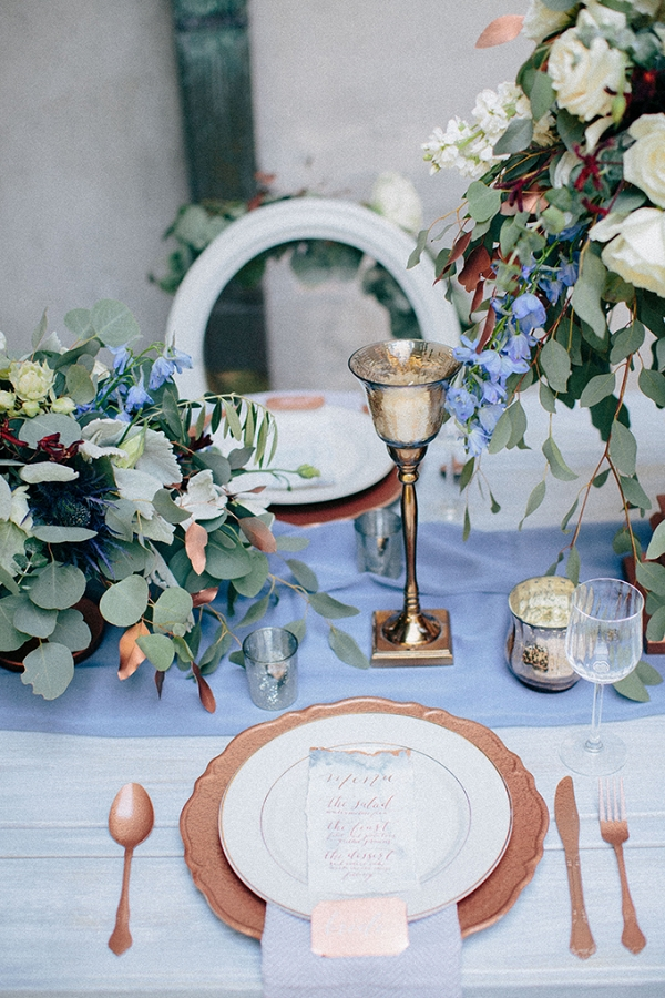 blue and copper table decor on Glamour & Grace