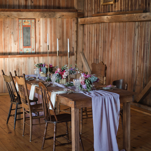 Purple barn wedding decor