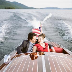 Vintage boat engagement session